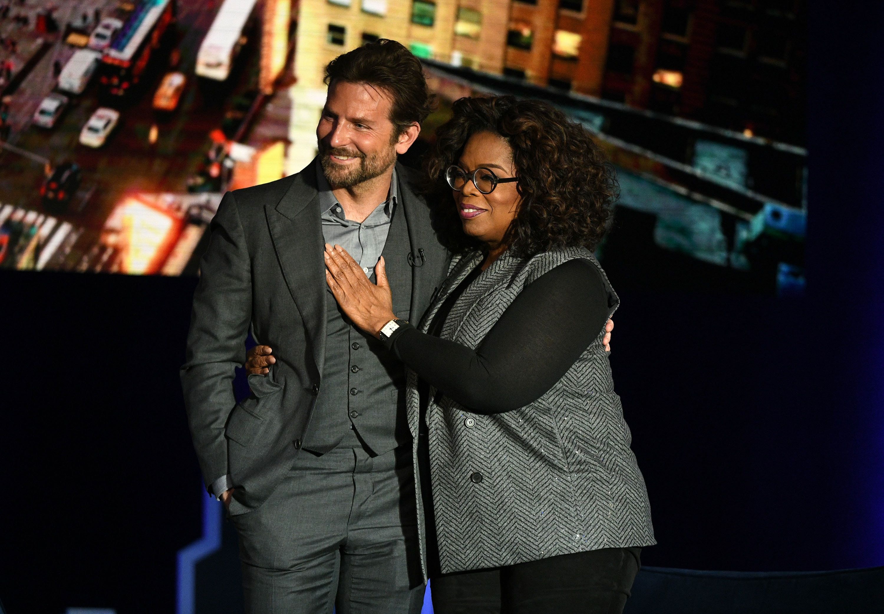 NEW YORK, NEW YORK - FEBRUARY 05: Bradley Cooper and Oprah Winfrey speak onstage during Oprah's SuperSoul Conversations at PlayStation Theater on February 05, 2019 in New York City. (Photo by Bryan Bedder/Getty Images for THR)