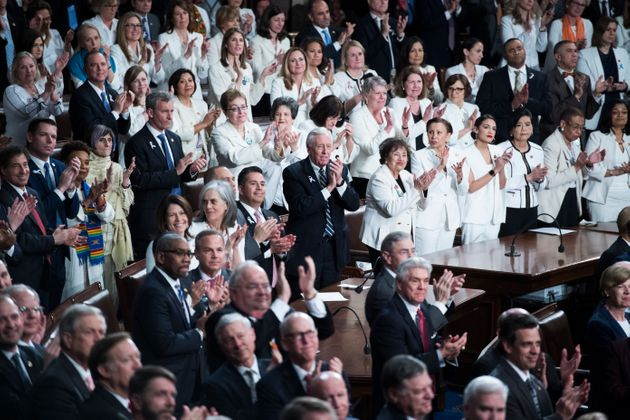 Women leaders of the House of Representatives wore white as President Donald Trump delivered his State...