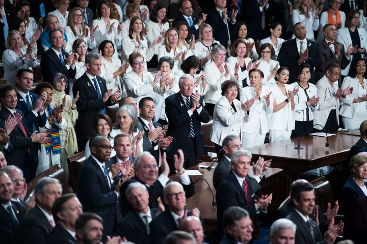 Women leaders of the House of Representatives wore white as President Donald Trump delivered his State of the Union address on Tuesday, Feb. 5, 2019.