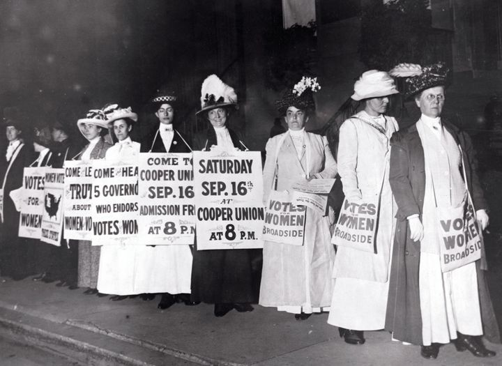 American suffragists with signs in New York. Undated.