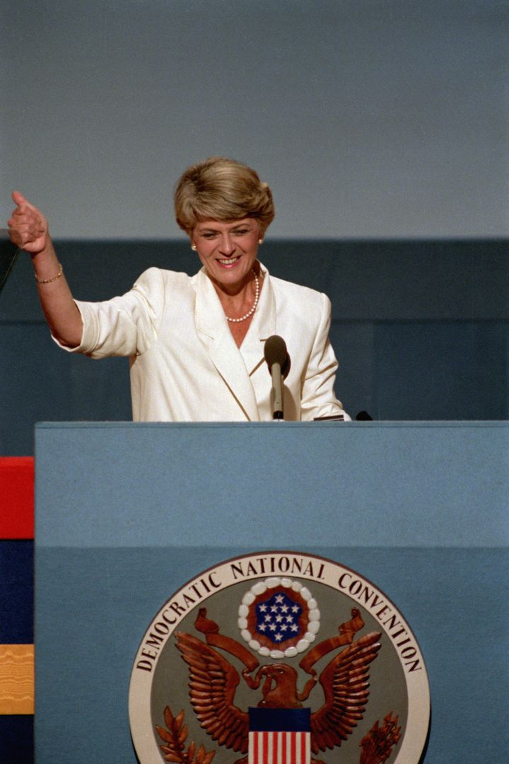 Geraldine Ferraro addresses the crowd at the Democratic National Convention in 1984.