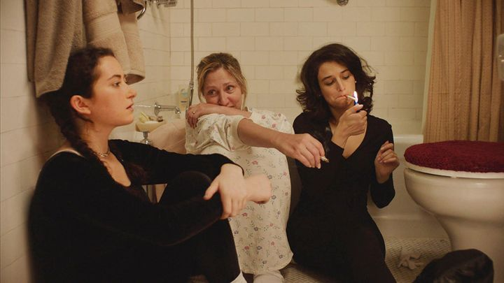 "(From left) Abby Quinn, Edie Falco and Slate in ""Landline."""
