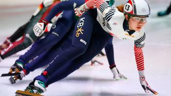 Korea's Suk Hee Shim competes in one of the heats of the women's 1,500 meter race of the ISU World Short Track Speed Skating Championships at Ahoy stadium in Rotterdam, Netherlands, Friday, March 10, 2017. (AP Photo/Peter Dejong)