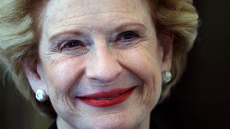 DETROIT, MI - AUGUST 8: Democrat incumbent Sen. Debbie Stabenow (D-MI) speaks with the news media after a Democrat Unity Rally at the Westin Book Cadillac Hotel August 8, 2018 in Detroit, Michigan. Stabenow will face off against Republican senatorial nominee John James in November. (Photo by Bill Pugliano/Getty Images)