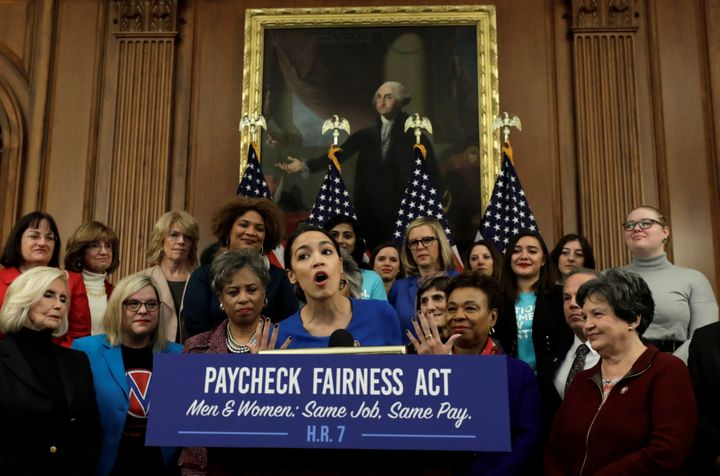 Rep. Alexandria Ocasio-Cortez discusses the Paycheck Fairness Act, which was reintroduced on Jan. 30 at a press conference in Washington.