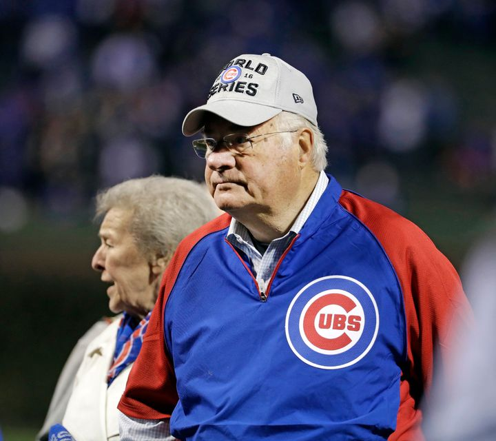 Joe Ricketts, with wife Marlene, before the start of Game 5 of the World Series featuring the Chicago Cubs in 2016.