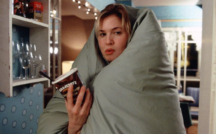 """Bridget Jones cozies up to a pint of Ben & Jerry's in an iconic scene from """"Edge Of Reason."""""""