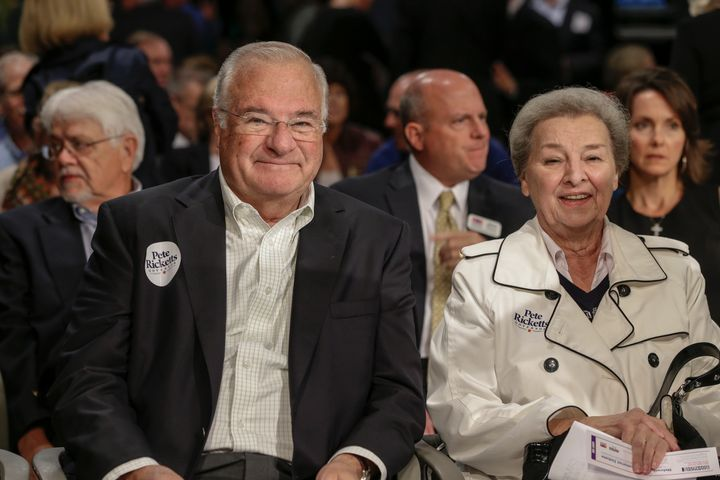 In this Oct. 2, 2014 photo, Joe and Marlene Ricketts attend a political debate in Lincoln, Nebraska.