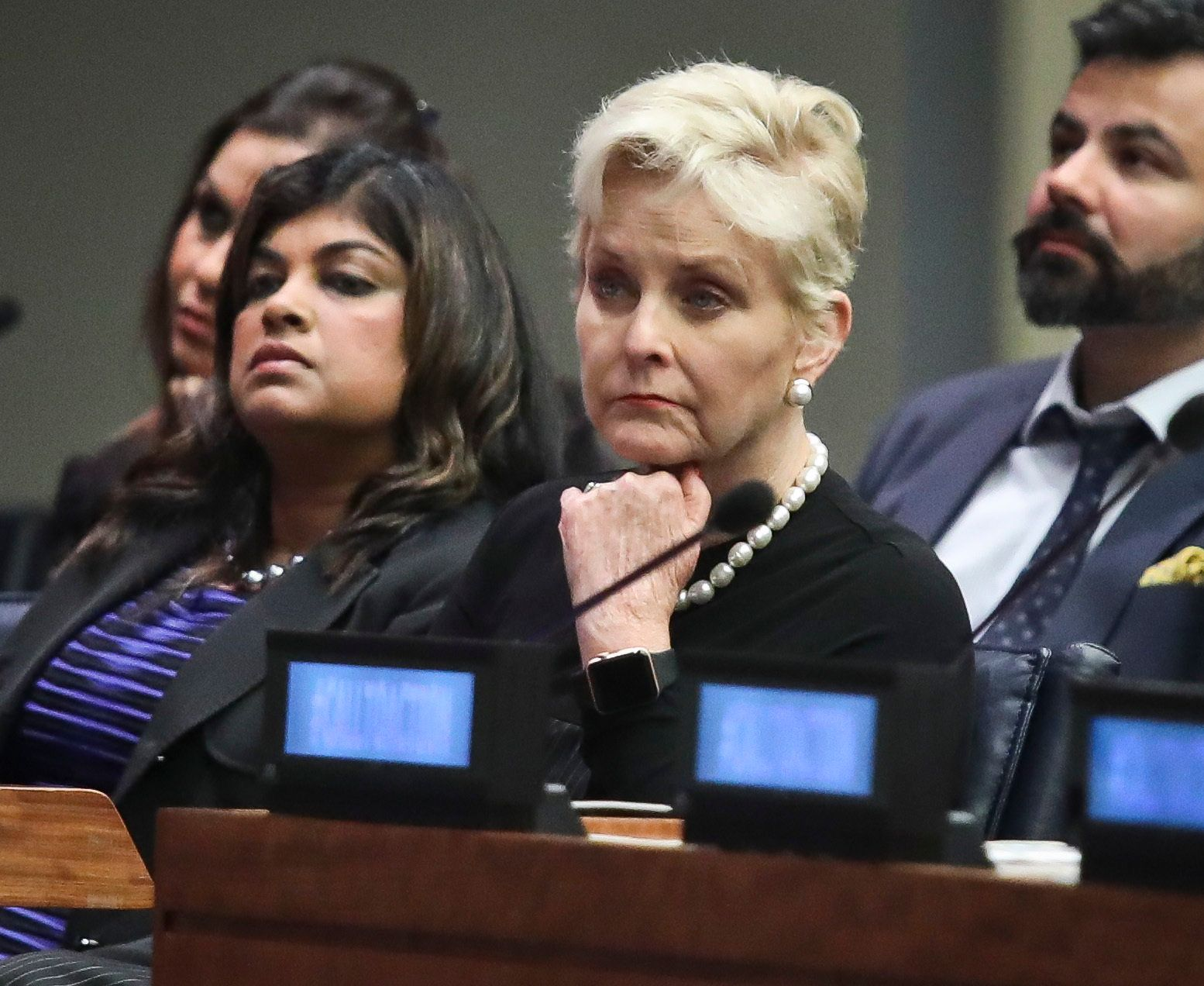"Cindy McCain, second from right, co-chair of the McCain Institute's Human Trafficking Advisory Council, and trafficking survivor Rani Hong, second from left, listen after addressing the human rights conference, ""Stepping Up Action to End Forced Labour, Modern Slavery and Human Trafficking,"" during the United Nations General Assembly, Monday Sept. 24, 2018 at U.N. headquarters. (AP Photo/Bebeto Matthews)"