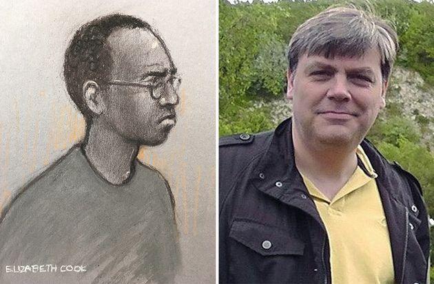 Darren Pencille, sketched left, denies murdering fatherLee Pomeroy,