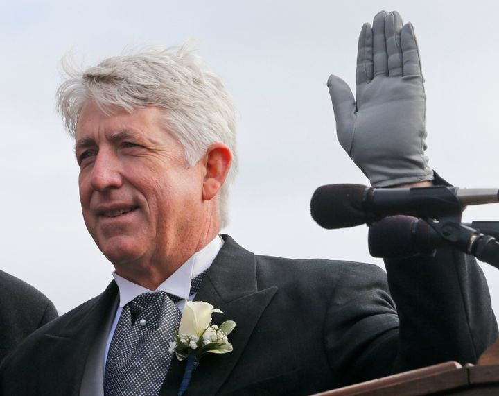 In this Saturday, Jan. 13, 2018 file photo, Virginia Attorney General Mark Herring takes the oath of office during inaugural