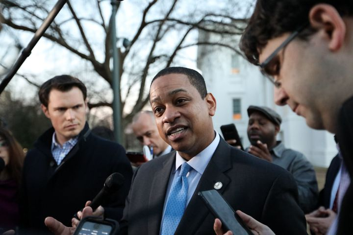 Virginia Lt. Gov. Justin Fairfax addresses the media about a sexual assault allegation from 2004 outside of the capital build