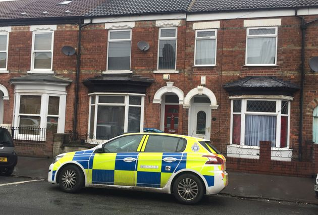 A police car in Raglan Street in Hull, where a 24-year-old man has been arrested on suspicion of abducting