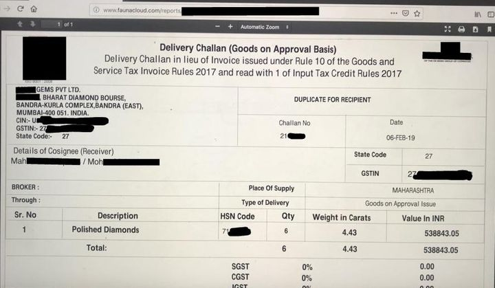 Delivery Challan of six diamonds issued by a BDB based Jeweller to a buyer on February 6 this year.