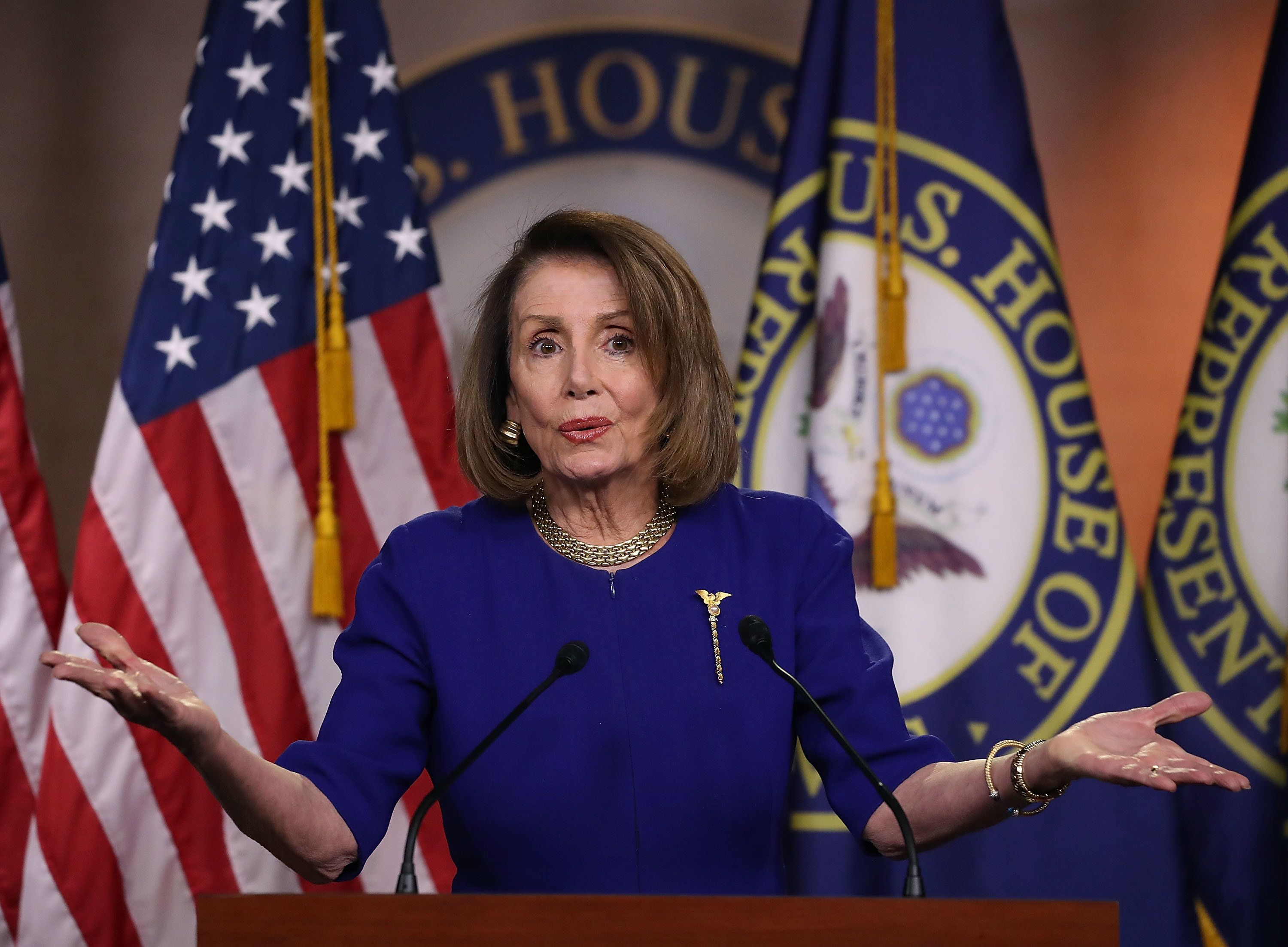 WASHINGTON, DC - FEBRUARY 07:  U.S. Speaker of the House Nancy Pelosi speaks during her weekly press conference on February 7, 2019 in Washington, DC. Pelosi answered a questions about House investigations of President Trump to ongoing negotiations to fund the federal government beyond February 15.  (Photo by Mark Wilson/Getty Images)