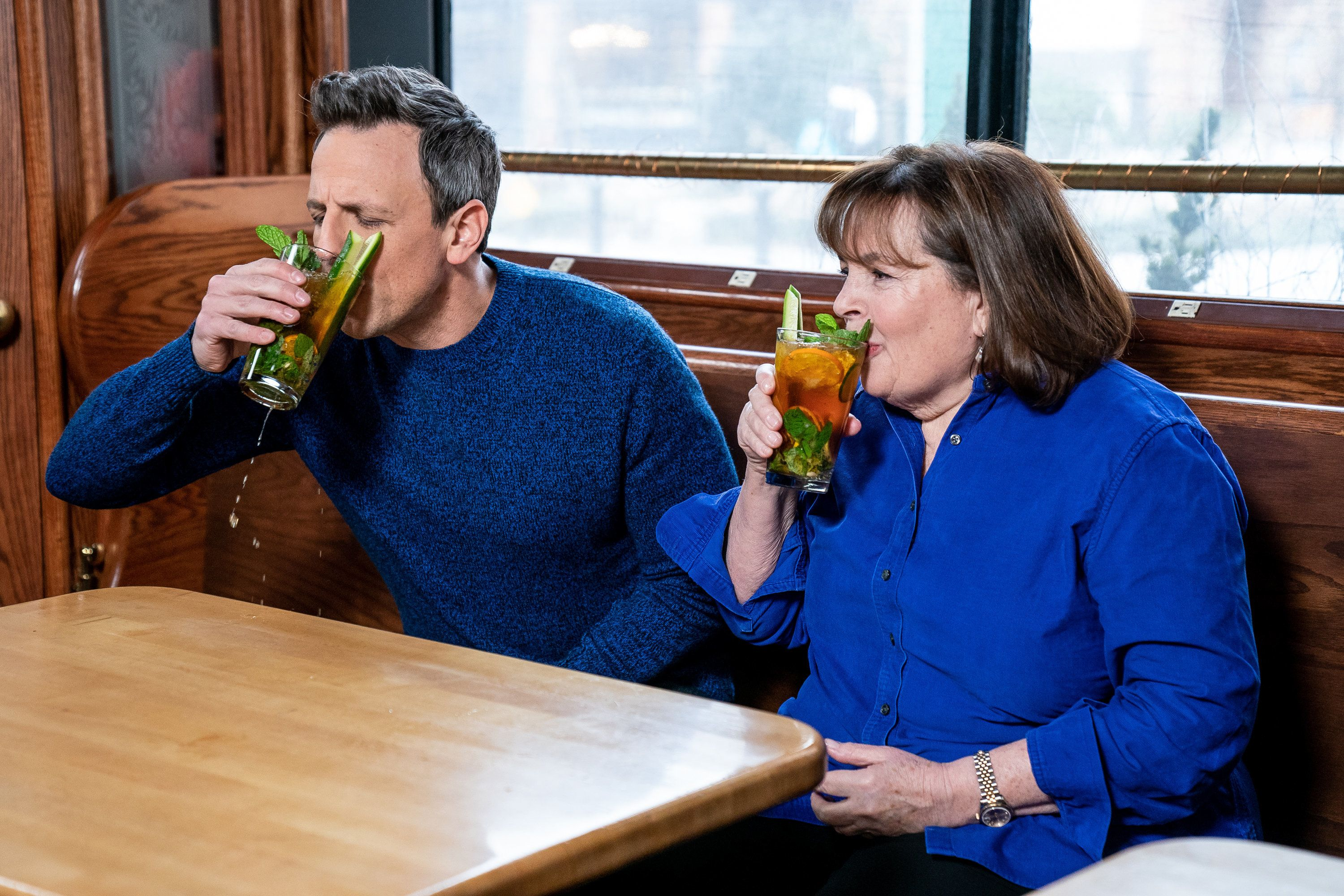 LATE NIGHT WITH SETH MEYERS -- Episode 795 -- Pictured: (l-r) Host Seth Meyers and Ina Garten during 'Seth Goes Day Drinking with Ina Garten' on February 6, 2019 -- (Photo by: Lloyd Bishop/NBC/NBCU Photo Bank via Getty Images)