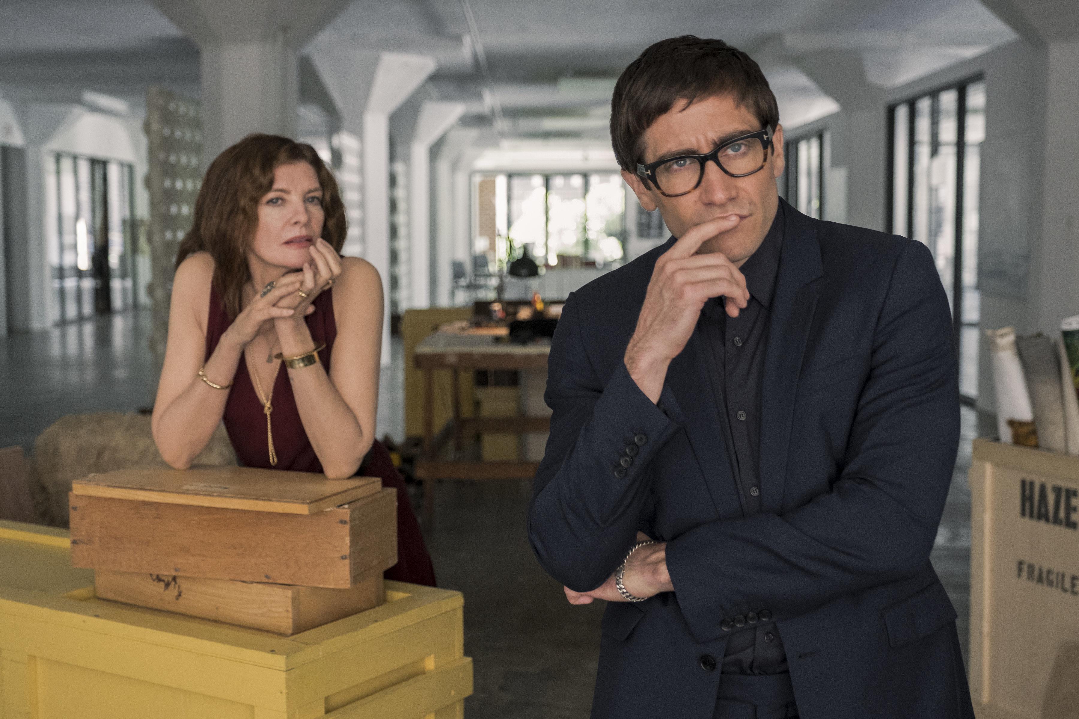 """Rhodora Haze (Rene Russo) and Morf Vandewalt (Jake Gyllenhaal) contemplating, er, something in """"Velvet Buzzsaw."""""""