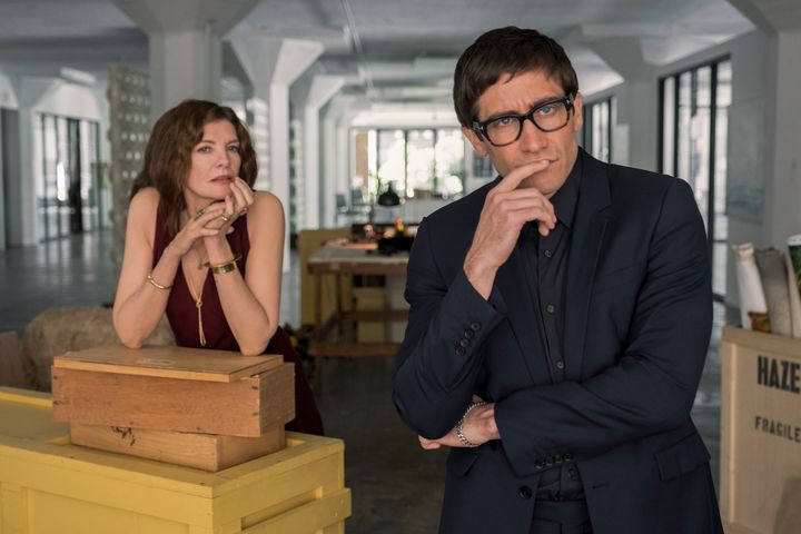 "Rhodora Haze (Rene Russo) and Morf Vandewalt (Jake Gyllenhaal) contemplating, er, something in ""Velvet Buzzsaw."""