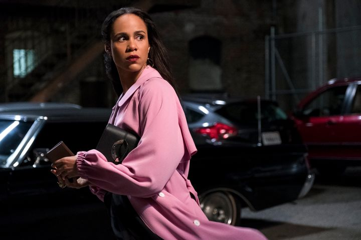 "Josephina (Zawe Ashton) looking spooked in ""Velvet Buzzsaw."""