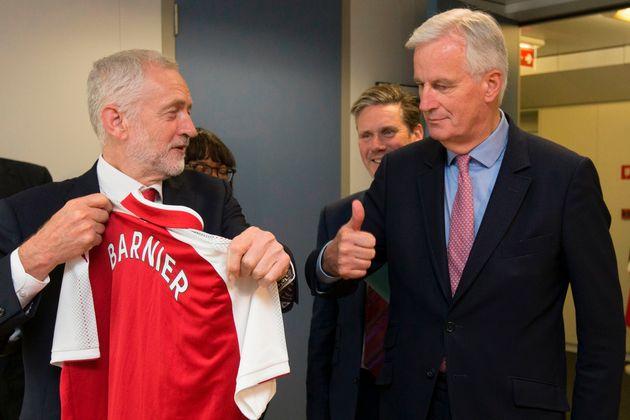 Jeremy Corbyn with the EU's chief Brexit negotiator, Michel Barnier