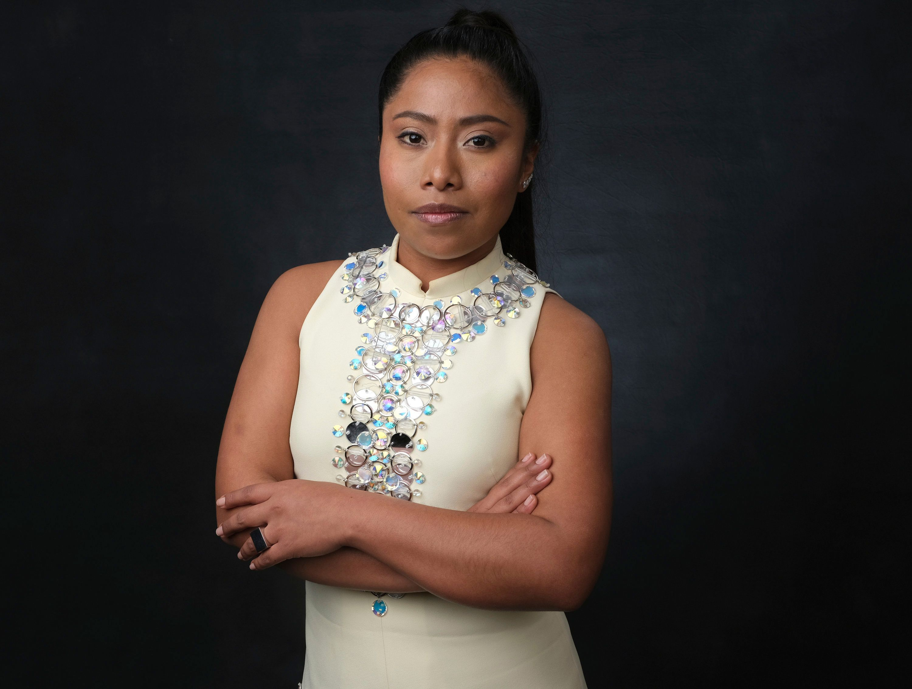 Yalitza Aparicio poses at the Academy Awards Nominees Luncheon at The Beverly Hilton Hotel -- Feb. 4, 2019, Beverly Hills, Ca