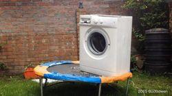 ドラム式洗濯機をトランポリンに乗せたら、ふなっしーにそっくりだった。【動画】