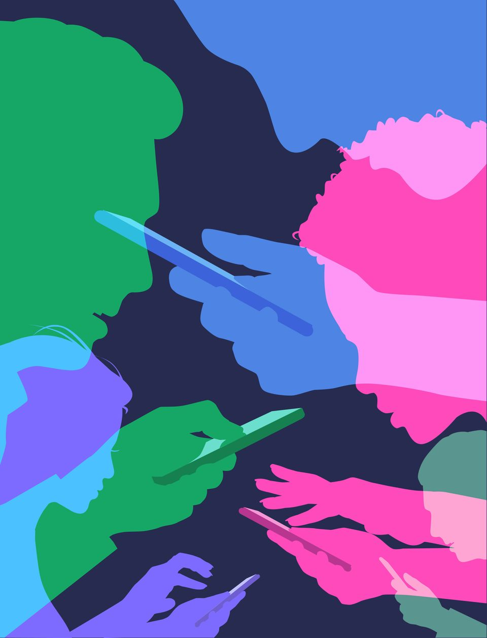 Colourful overlapping silhouettes of mobile phone users