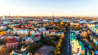 Helsinki aerial panoramic view at sunset, Finland.