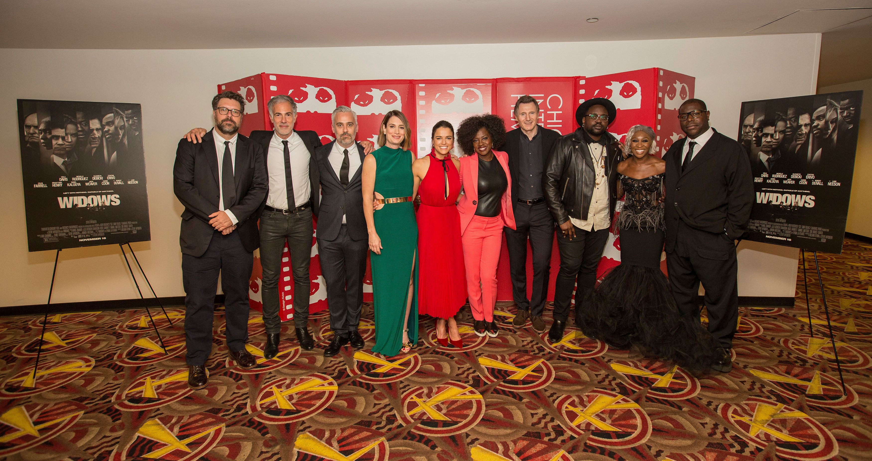 Michelle with Widows co-stars Viola Davis and Liam
