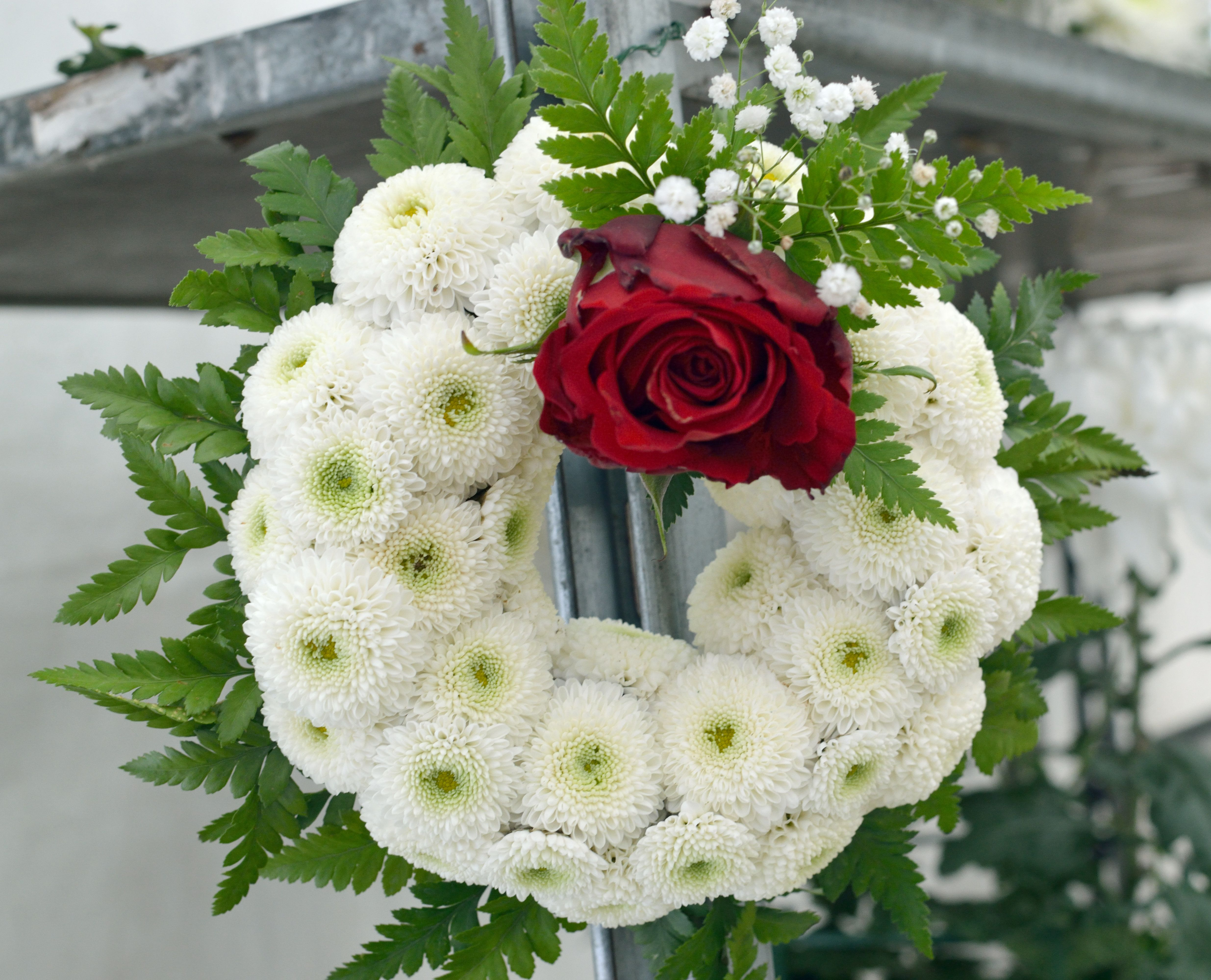 wreath consisting of white chrysanthemums with red rose
