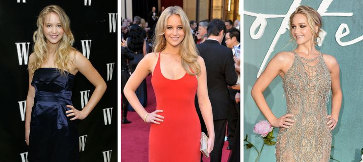 Jennifer Lawrence on the red carpet over the years.