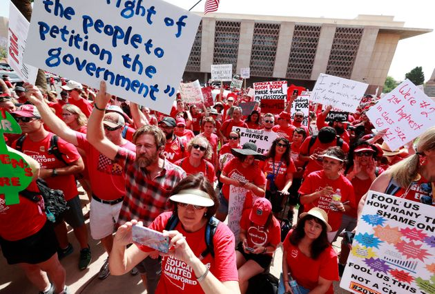 Teachers rally outside the Arizona Capitol in April, on their third day of walkouts. It was just one...