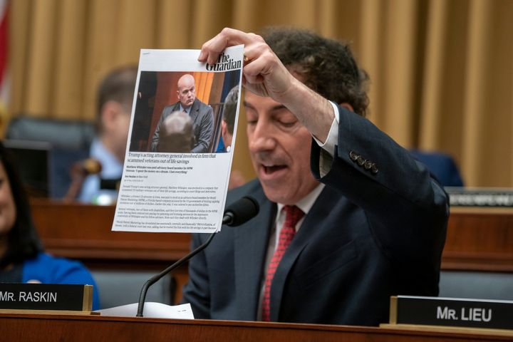 Rep. Jamie Raskin questions acting Attorney General Matthew Whitaker at a congressional hearing on Feb. 8, 2019.