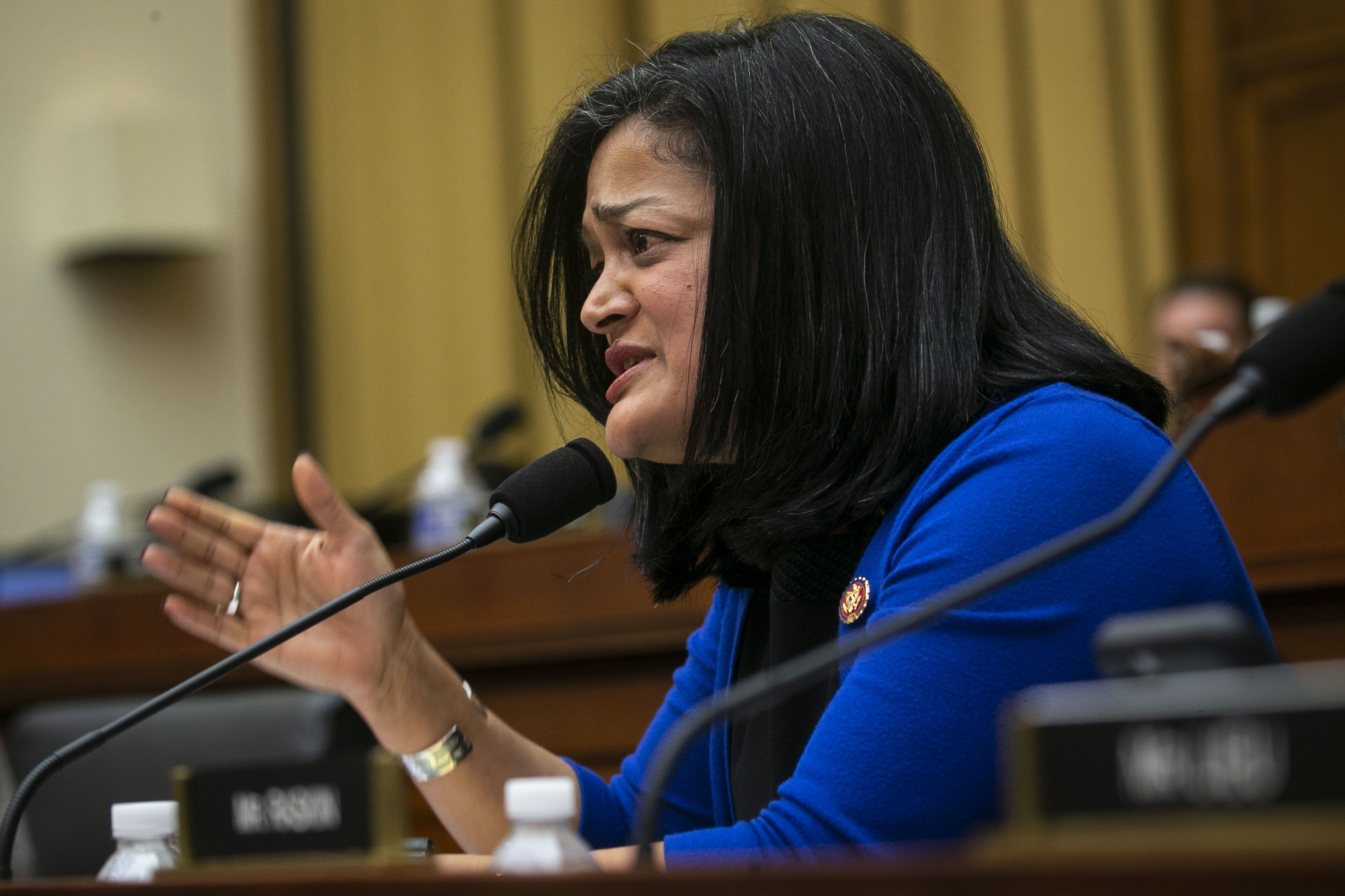 Representative Pramila Jayapal, a Democrat from Washington, speaks during a House Judiciary Committee hearing with Matthew Whitaker, acting U.S. attorney general, not pictured, in Washington, D.C., U.S., on Friday. Feb. 8, 2019. Whitaker told lawmakers 'I have not interfered in any way' in Special Counsel Robert Mueller's Russia investigation, as lawmakers pressed him on conversations with President Donald Trump during a confrontational House hearing. Photographer: Al Drago/Bloomberg via Getty Images