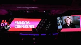DANA POINT, CA - FEBRUARY 07: Hillary Rodham Clinton onscreen during The 2019 MAKERS Conference at Monarch Beach Resort on February 7, 2019 in Dana Point, California.  (Photo by Vivien Killilea/Getty Images for MAKERS)