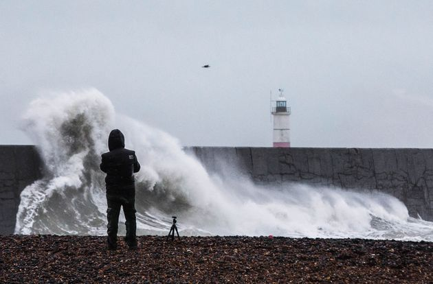 A photographer captures Storm Erik, as large waves and rough seas hit Newhaven, East