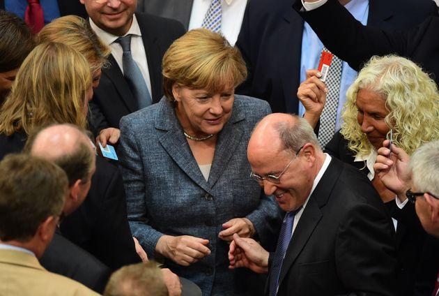 Angela Merkel und Gregor Gysi im Bundestag