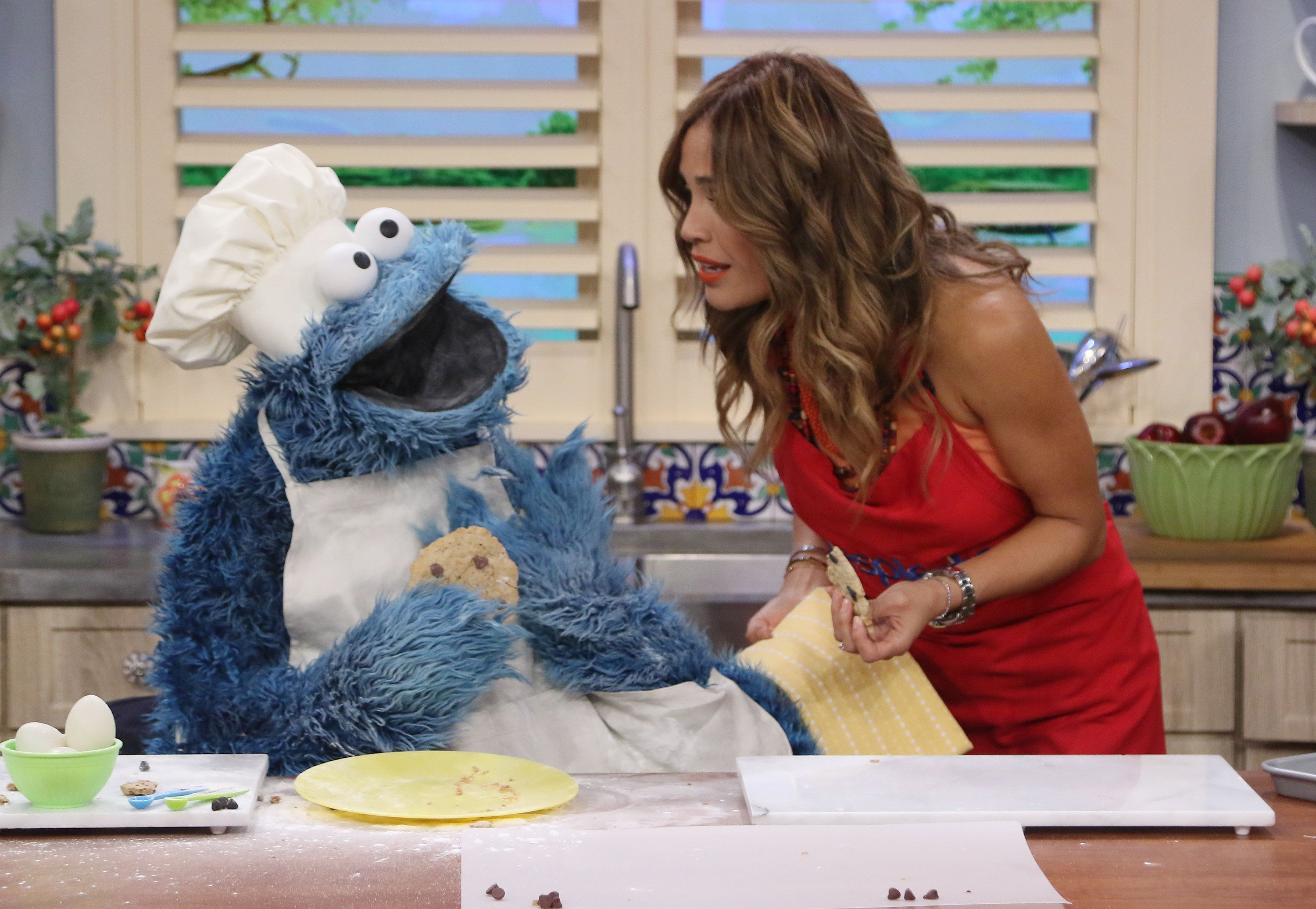 MIAMI, FL - AUGUST 19:  Cookie Monster and Karla Martinez are seen on the set of 'Despierta America' at Univision Studios on August 19, 2016 in Miami, Florida.  (Photo by Alexander Tamargo/Getty Images)