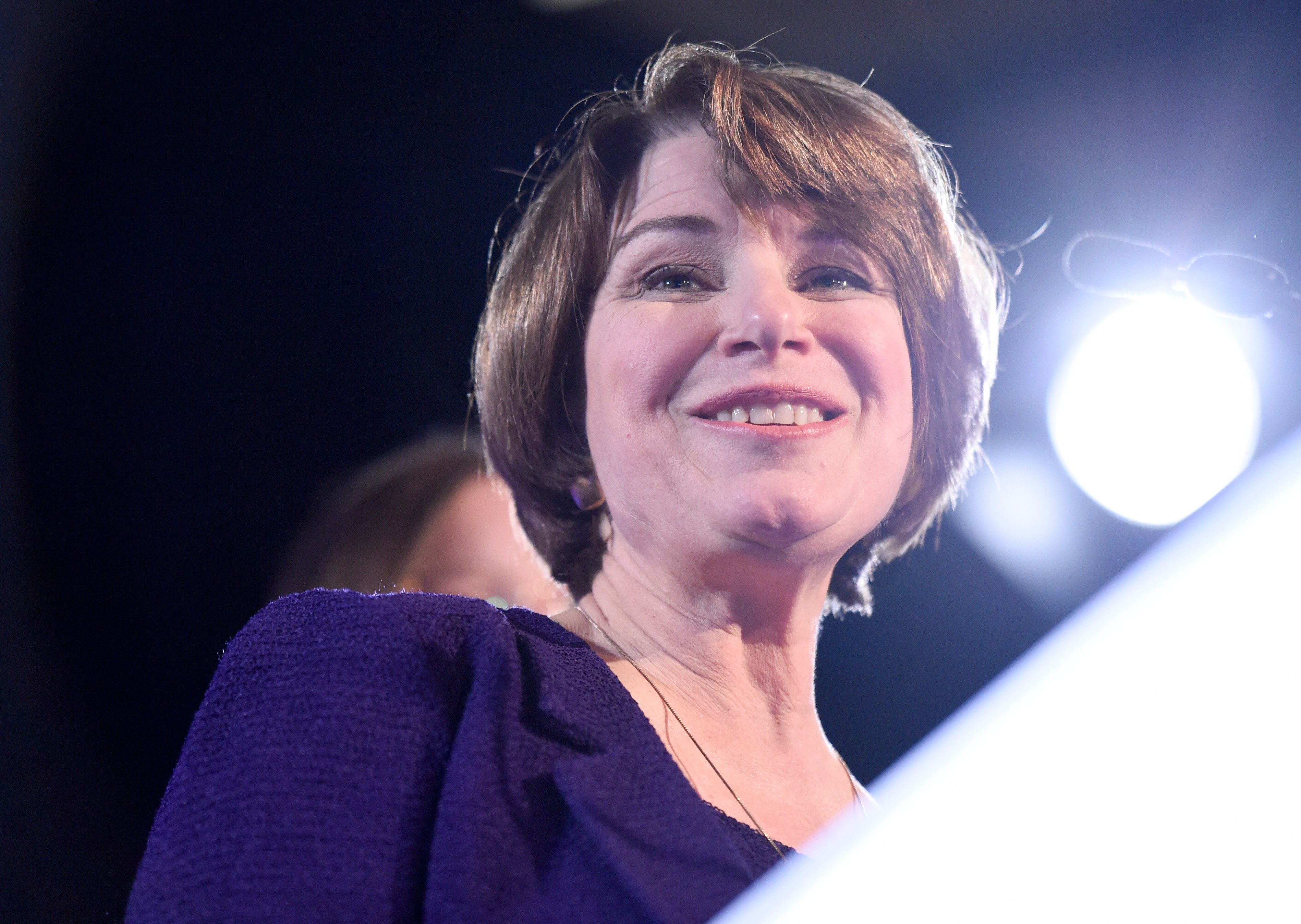 Sen. Amy Klobuchar, D-Minn., speaks after winning re-election during a election night event held by the Democratic Party Tuesday, Nov. 6, 2018, in St. Paul, Minn. (AP Photo/Hannah Foslien)