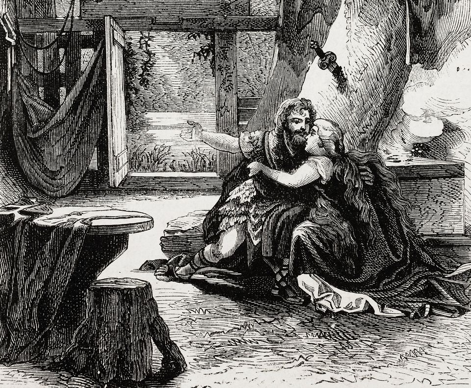 Siegmund and Sieglinde, scene from The Valkyrie, from The Ring of the Nibelung by Richard Wagner, illustration from the weekly Rivista Illustrata (Illustrated Magazine), No 227, May 6, 1883.