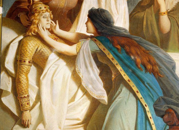 Siegfried's Death, from the cycle The Ring of the Nibelung, by Wilhelm Ernst Ferdinand Franz Hauschild (1827-1887). Neuschwanstein Castle, Fussen, Germany.