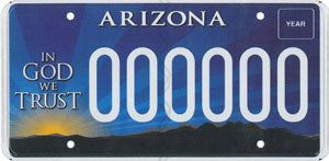 "Sales of Arizona's specialty ""In God We Trust"" license plate have quietly supported the Alliance Defending Freedom organizati"