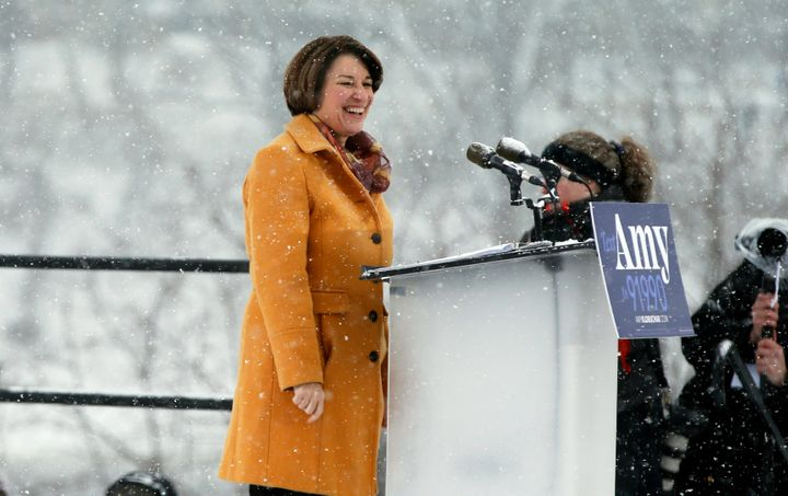 Democratic Sen. Amy Klobuchar announced her presidential candidacy on Sunday at a snowy rally in Minneapolis. Afterward,