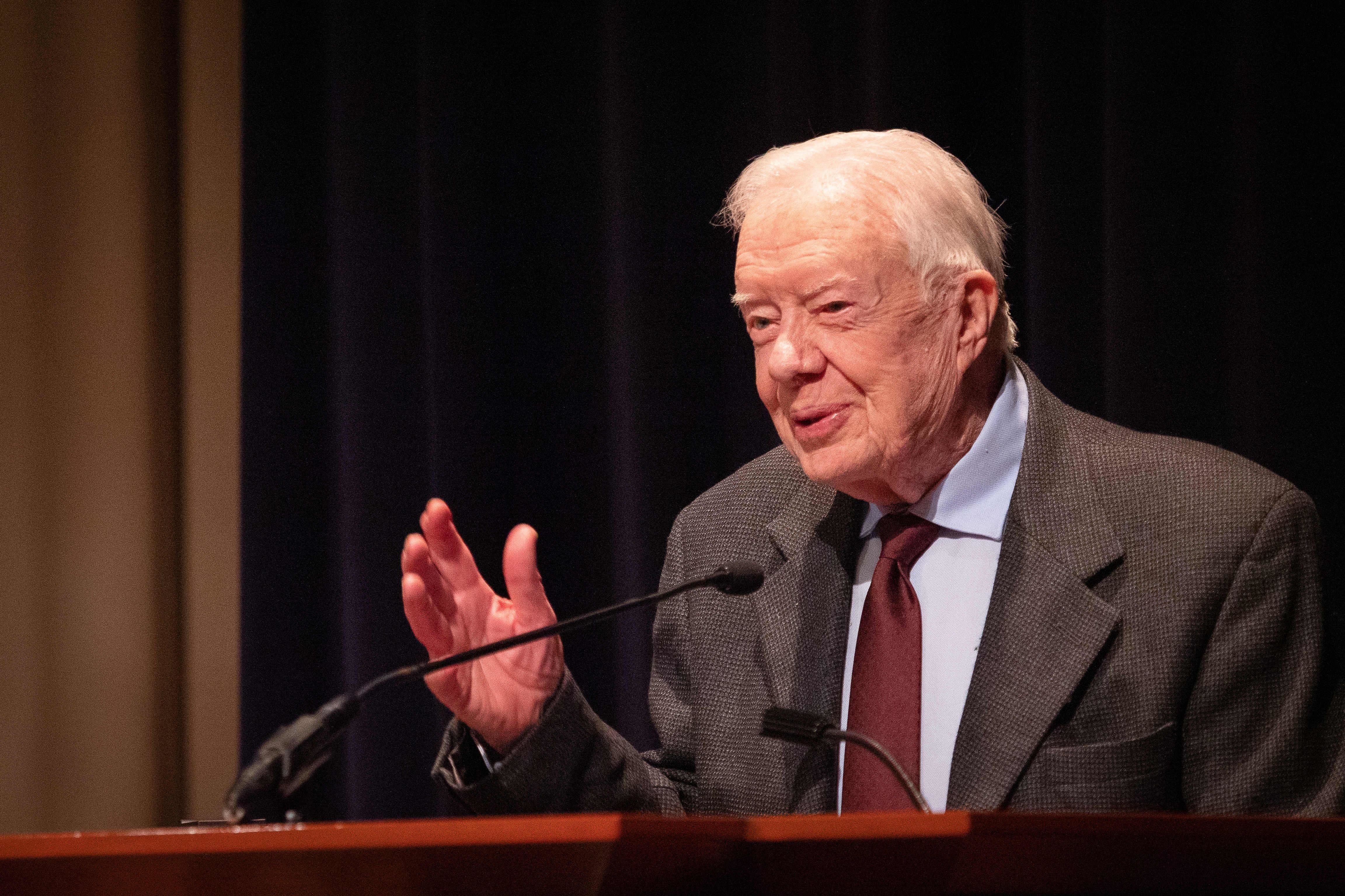 ATLANTA, UNITED STATES - JANUARY 18: Former U.S. President Jimmy Carter speaks during the symposium commemorating the 40th anniversary of the normalization of US-China relations at the Carter Center on January 18, 2019 in Atlanta, the United States. The symposium, jointly organized by the Carter Center, the Chinese People's Association for Friendship with Foreign Countries and the Institute of American Studies (IAS) under the Chinese Academy of Social Sciences, took place in Atlanta on Friday. (Image provided by the organizer/China News Service/VCG via Getty Images)