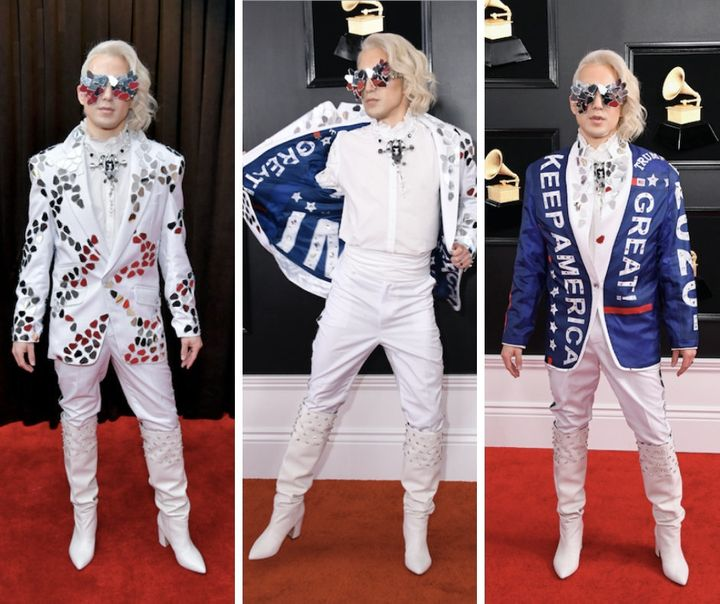 Ricky Rebel revealing his Trump jacket on the red carpet.