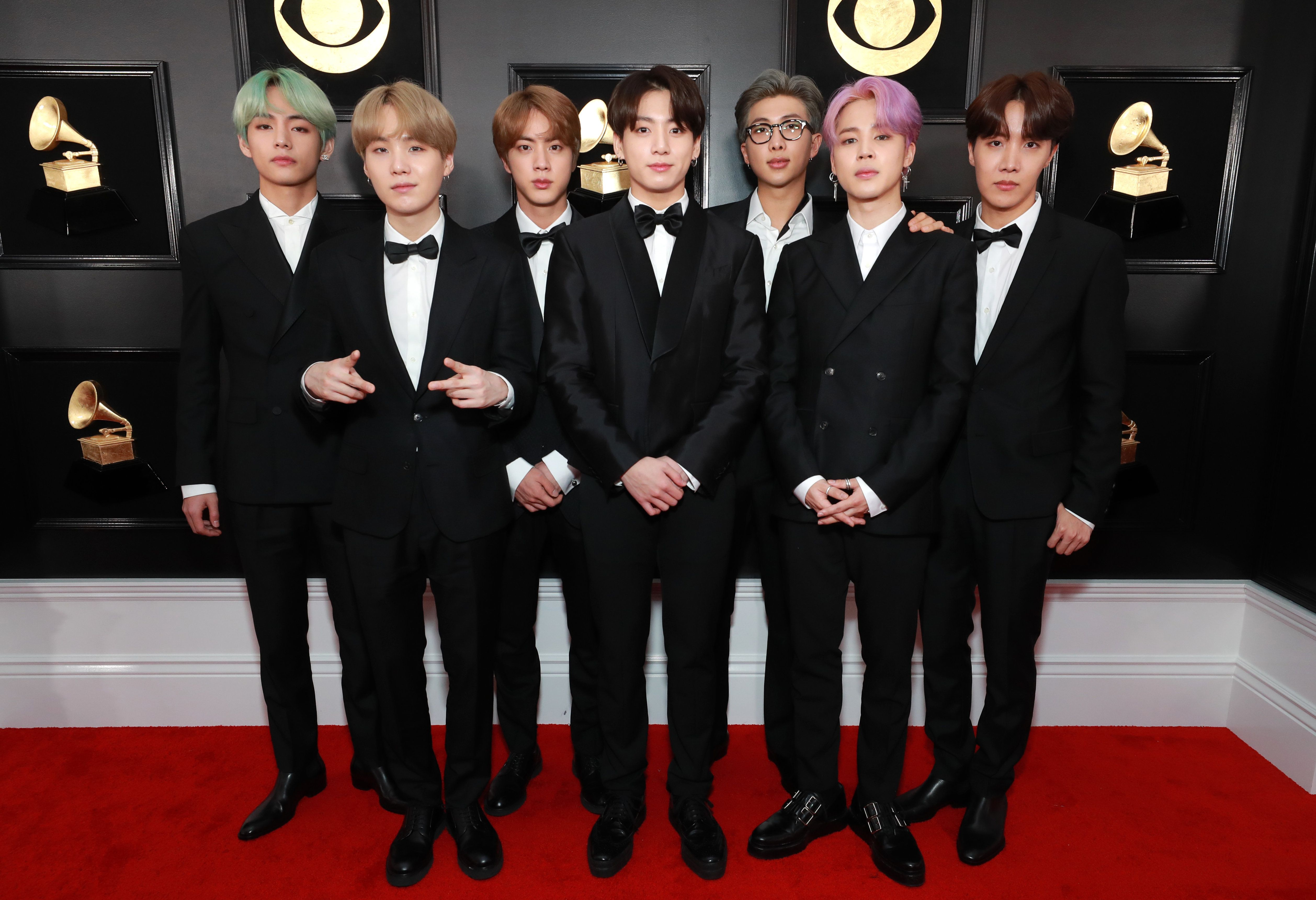 LOS ANGELES, CA - FEBRUARY 10:  BTS attends the 61st Annual GRAMMY Awards at Staples Center on February 10, 2019 in Los Angeles, California.  (Photo by Rich Fury/Getty Images for The Recording Academy)