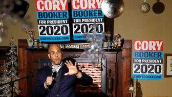 U.S. Sen. Cory Booker, D-N.J., speaks during a meet and greet with local residents, Saturday, Feb. 9, 2019, in Marshalltown, Iowa. (AP Photo/Charlie Neibergall)