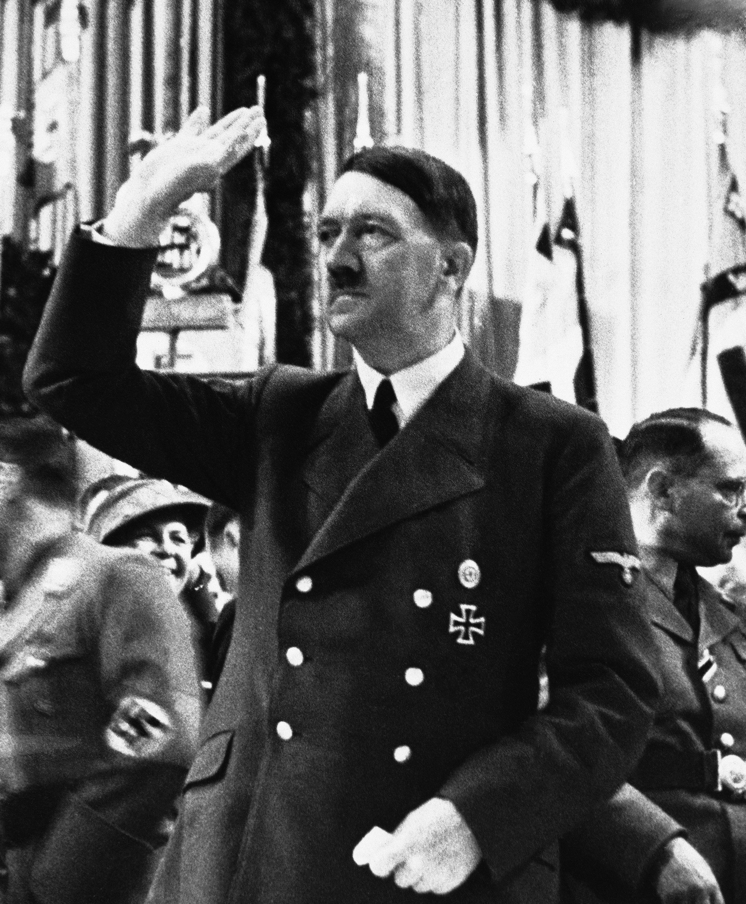German Chancellor Adolf Hitler acknowledging the audience following a speech in Berlin, Germany on Nov. 18, 1941. (AP Photo)