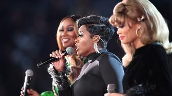(From R) Andra Day, Fantasia and Yolanda Adams perform an Aretha Franklin tribute onstage during the 61st Annual Grammy Awards on February 10, 2019, in Los Angeles. (Photo by Robyn Beck / AFP)        (Photo credit should read ROBYN BECK/AFP/Getty Images)