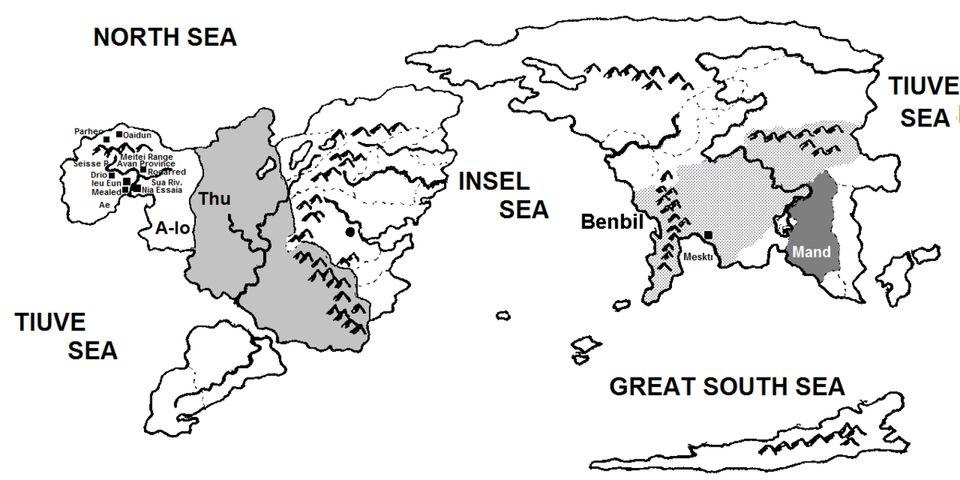 Χάρτης του φανταστικού πλανήτη Ούρρας, του ενός από τους δύο κόσμους του βιβλίου της Ursula